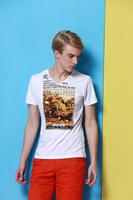 2014 men's new summer cotton short sleeve V-neck T-shirt  no:1431