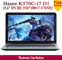New Hasee Intel i7 4710MQ 4G RAM 1TB HDD 15.6 inches IPS 1920*1080 NVIDIA GT 740M USB3.0 DVD R/W HDMI Laptop