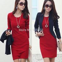 New OL Womens Lady autumn Long Sleeve Slim Fit Casual dress cotton winter Mini Dress plus size S-3XL Free shipping