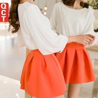 2014 spring women's small short skirt high waist pleated puff skirt spring and summer basic bust skirt Pleated Solid Mini Skirt