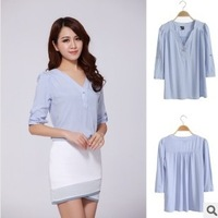 Free Shipping office ladies Japan style summer loose blouse three quarter petal sleeve V-neck formal office shirt 1733