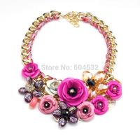 2014 Spring New Design Multicolor Metal Flower Rhinestones Crystal Bib Necklaces & Pendant Luxury Statement Jewelry Gold Chain