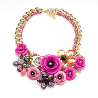 2014 Spring New Design Multicolor Metal Flower Rhinestones Crystal Bib Necklaces & Pendant Luxury Statement Jewelry Gold Chain
