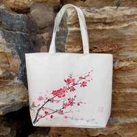 2014 new style of hand-painted Chinese red plum blossom design canvas bag woman bag