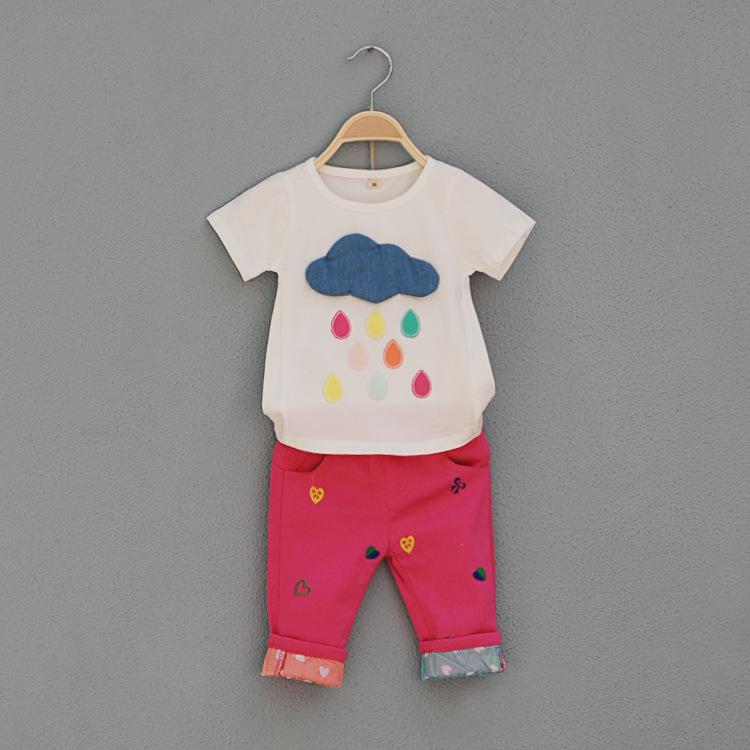 2014 New summer girls cotton 2pcs sets babys casual clothing sets t shirts+middle pants cloud pattern 4 sets/lot wholesale 1268(China (Mainland))