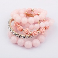 2014 New Rose Flower Beads Crystal Bracelets&Bangles Multilayer Stretch Fashion Women's Jewelry Sets Min Order is $10 Can Mixed