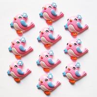 Lot 10pcs Pink Flower Bird Resin Cabochons Flatbacks Flat Back Girl Hair Bow Center Cell Phone Crafts RE-157