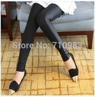 Spring Summer New Fashion Pants Women Black Side Stitching Leather Pants Flexible Leggings Cotton Pencil Trousers