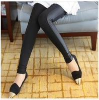 2014 Spring Summer New Fashion Pants Women Black Side Stitching Leather Pants Flexible Leggings Cotton Pencil Trousers