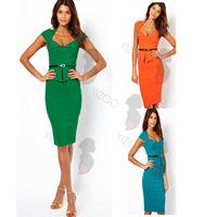 Sexy women work wear peplum dress new 2014 summer dress office lady pencil bodycon dresses vestidos free shipping