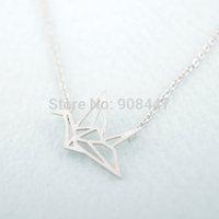 (10 pcs/lot) 18K Gold/Silver Origami Crane Necklace new fashion origami bird necklace