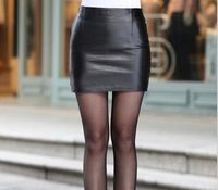 HOT! New Ms. PU leather skirt women OL miniskirt free shipping