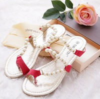 2014 New summer European and American  Bead string water leather stitching set of toe wedges joker style sandals for women