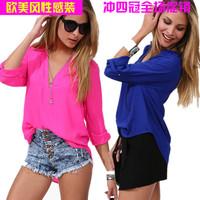 2014 spring and summer fashion elegant casual shirt Women long-sleeve shirt chiffon blouse loose
