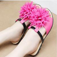 Bohemia 2014 flat open toe slip-resistant flip flops shoes flower hasp women's slippers shoes