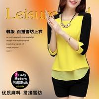 Free shipping 2014 spring basic elegant chiffon shirt summer fashion color block decoration chiffon top shirt female