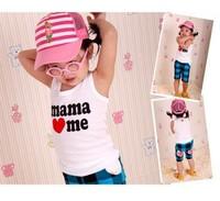 2pcs I love baba mama baby T shirt, mama love me papa love me baby vest T Shirts, white kids baby T Shirt, Cotton tank For baby
