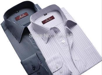 2014 Spring Autumn Men's Formal Shirt Straight Stripe Длинный Рукав Business ...
