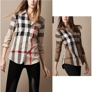 High Quality Classical 2014 Women Top Brand Designer Long Sleeve Big Checked Casual shirts/Office Plaid Tops/Blouse S-XXL
