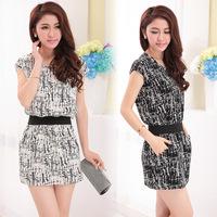 office women summer dress shiver floral print dresses vestido estampado bodycon tunic black/white dress bodysuit women 2014