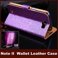 Luxury Glitter Diamond PU Wallet Leather Case For N7100 Galaxy Note 2 Flip Buckle Stand Card Holder For Galaxy Note2 Case Cover
