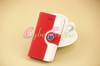 Wholesale - Fashion Wallet Leather Case Cover With Credit Card Holder For iphone 4 4S / 5 5S / 5C