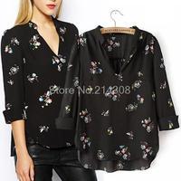 2014 New Womens Elegant Floral Print Black Blouses V-neck Three Quarter Sleeve OL Shirt Casual Slim Fashion Design Tops