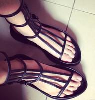 summer women black flat sandals cool narrow band summer slippers size 35-39