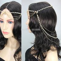 Retail H039 Imitation Pearls Head Piece Hair Jewelry Fashion Jewelry Metal Chains  Body chain girl charm