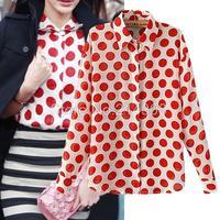New Summer Women Stylish Dots Print Chiffon Blouse Turn Down Collar Long Sleeve OL Casual Shirt 2014 Fashion Designer Tops
