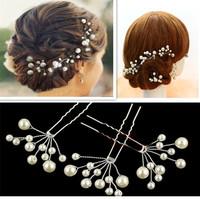 12 Pcs/ Lot New Pearl Flower Hairpins/ Hair Clips Wedding Bridal Hair Accessories Free Shipping