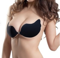 Factory price Free Ship Ladies Invisible Enhance Bust Push Up Backless Strapless Self Adhesive 2colors Black Nude Cup A B C D