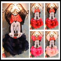2014 New Baby girls Summer Clothing Set Minnie Mickey Mouse T shirt+tutu Skirt Kids Brand Clothing sets 5sets/lot free Shipping