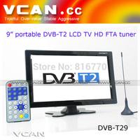 9 inch portable DVB-T2 LCD TV monitor 2014 HD FTA digital TV receiver decoder tuner with antenna