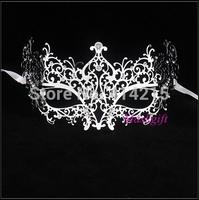 Silver Metal Masks 100% Handicraft Venetian Style Sexy Lady Silver Laser Cut Masquerade Masks With Clear Rhinestones MA005-SL
