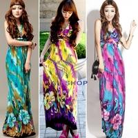 2014 Summer Maxi Chiffon Boho Bohemian Ice Silk Print Dress Beach Long Women's Backless Fashion Sleeveless Elegant Dresses 02008