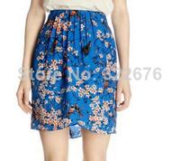 2014 Hot Sale Woman's Blends Material Flower Printed Ruffles Embellished High Waist Skirt Western Pattern Blue Skirt S/M/L
