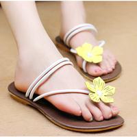 2014 sweet casual slippers flower beach slippers flat flip flops flip female