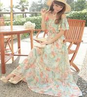 Fresh slit neckline strapless chiffon bohemia one-piece dress beach dress full dress