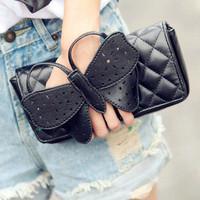 bow small bags women's handbag plaid day clutch chain bag shoulder bag clutch