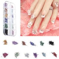 12 MIXED Colors,Fashion DIY Nail Tools Acrylic Rhinestore Decoration Nail Tips Brilliant Glitter Nail Art Colorful Diamond