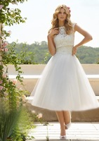 2014 summer simple white ivory tea-length lace cap sleeves A-line wedding dresses bride gown custom made free shipping 1128