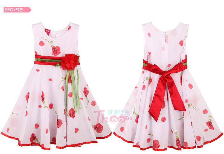 New girls sleeveless party dress 2014 summer fashion red rose flower print vest princess dress sundress children clothing(China (Mainland))