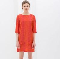 2014 Hot Sale Woman's Chiffon Material Half Sleeves O-Neck Pocket Pink Dots Embellished Western Patterns Orange Dress