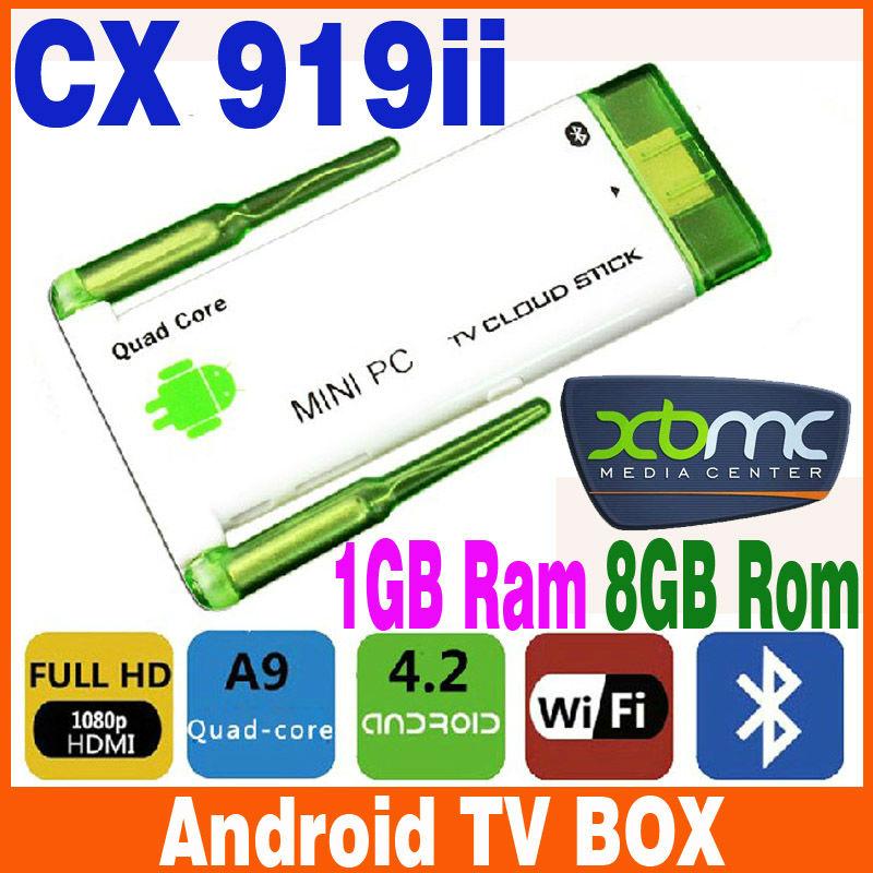Super style CX-919II Quad Core RK3188 2G RAM 8G ROM Android TV Box mini pcs TV Sticks Dual External WiFi Antenna CX919 II skype(China (Mainland))
