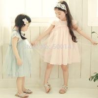 2014 hot selling children summer clothing high quality cotton girls dresses for kids wear Lace flower dress, girl princess dress