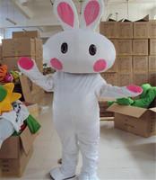 2014 New Hot Cartoon Big Head White Rabbit Mascot Costume Animal Fancy Dresses