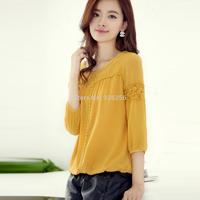 Wholesale Hot 2014 new large size women loose chiffon shirt lace shirt female lace lace shirt bottoming