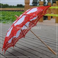 "30"" Orange Patchwork Free Shipping Fashion handicraft cotton lace wedding parasol For Gride"