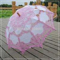 "30"" Pink Patchwork 2014 Fashion Embroidered Lace Parasol Sun Wedding Umbrella Bridal Bride Parasols Umbrellas Sombrinha"